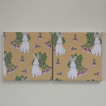 4 Ceramic Coasters in Emily Burningham Rabbits and Turnips